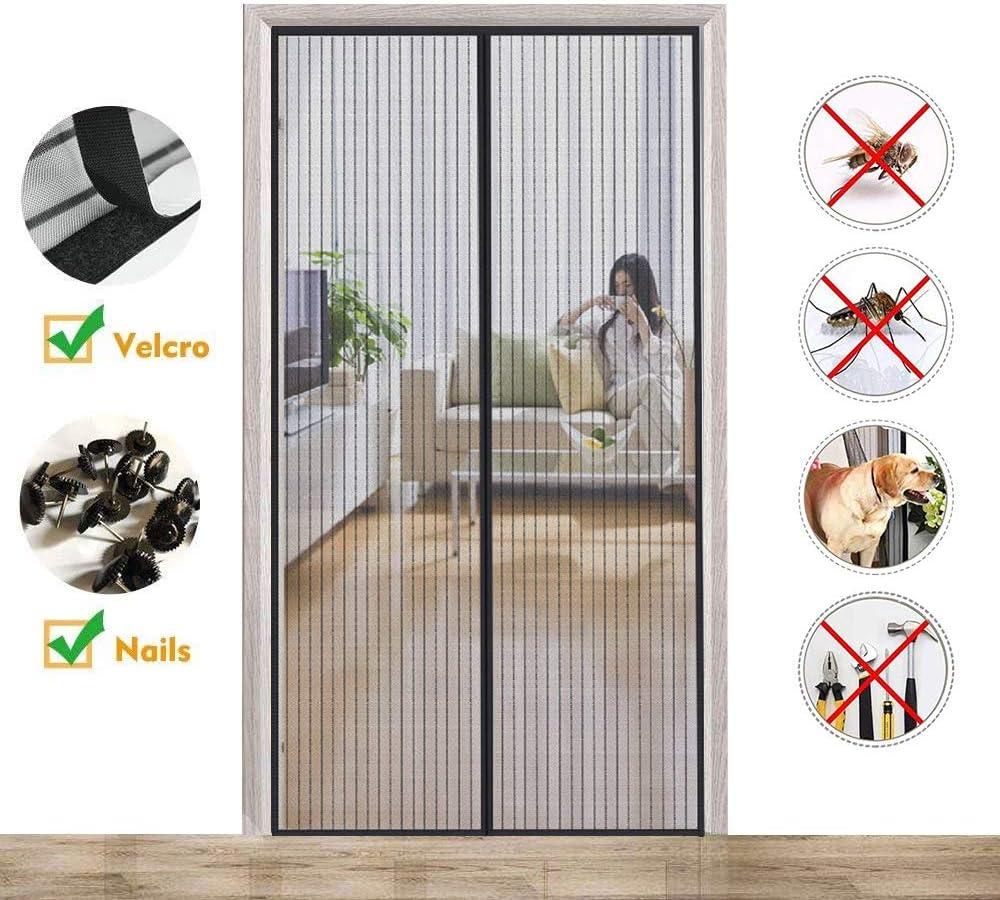 Magnetica Corredera Cortina 105x205cm, Mosquitera Magnética para Puertas, Cierre automático Adsorción magnética Protección contra Insectos, para Pasillos/Puertas/Ventanas, Negro