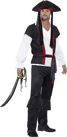 SMIFFYS Costume Capitano dei pirati Nero cravatta e cappello con c pantaloni con top