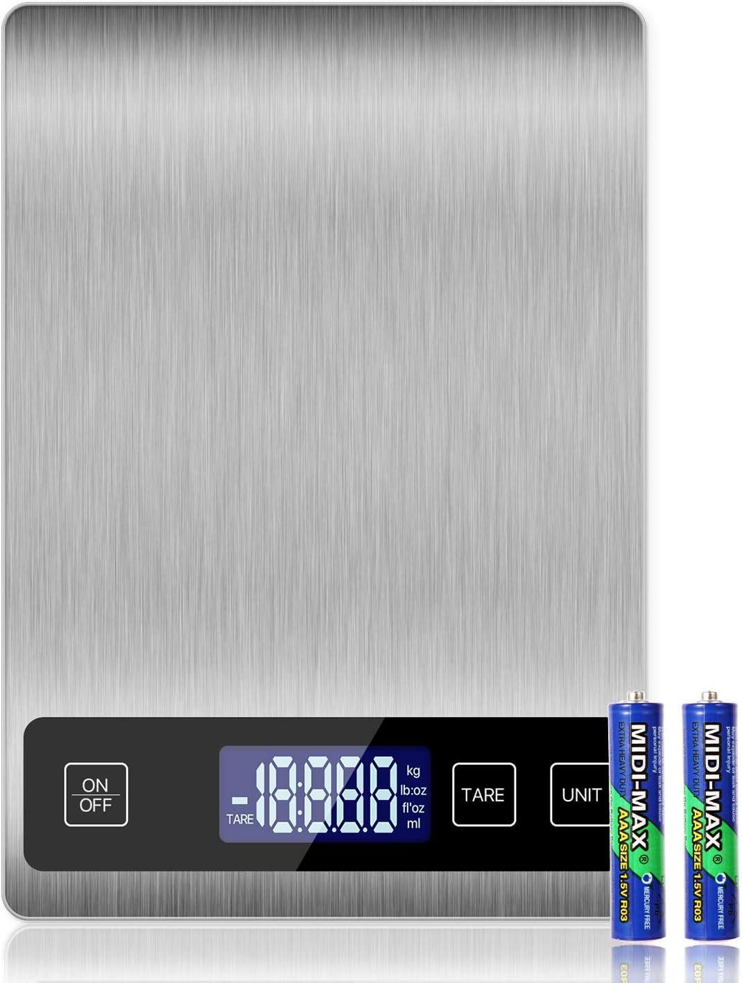 wiegt Gramm und Unzen zum Backen und Kochen 10/kg//2/g Premium Edelstahl-Lebensmittelwaage Eono by 15/Jahre Garantie Digitale K/üchenwaage