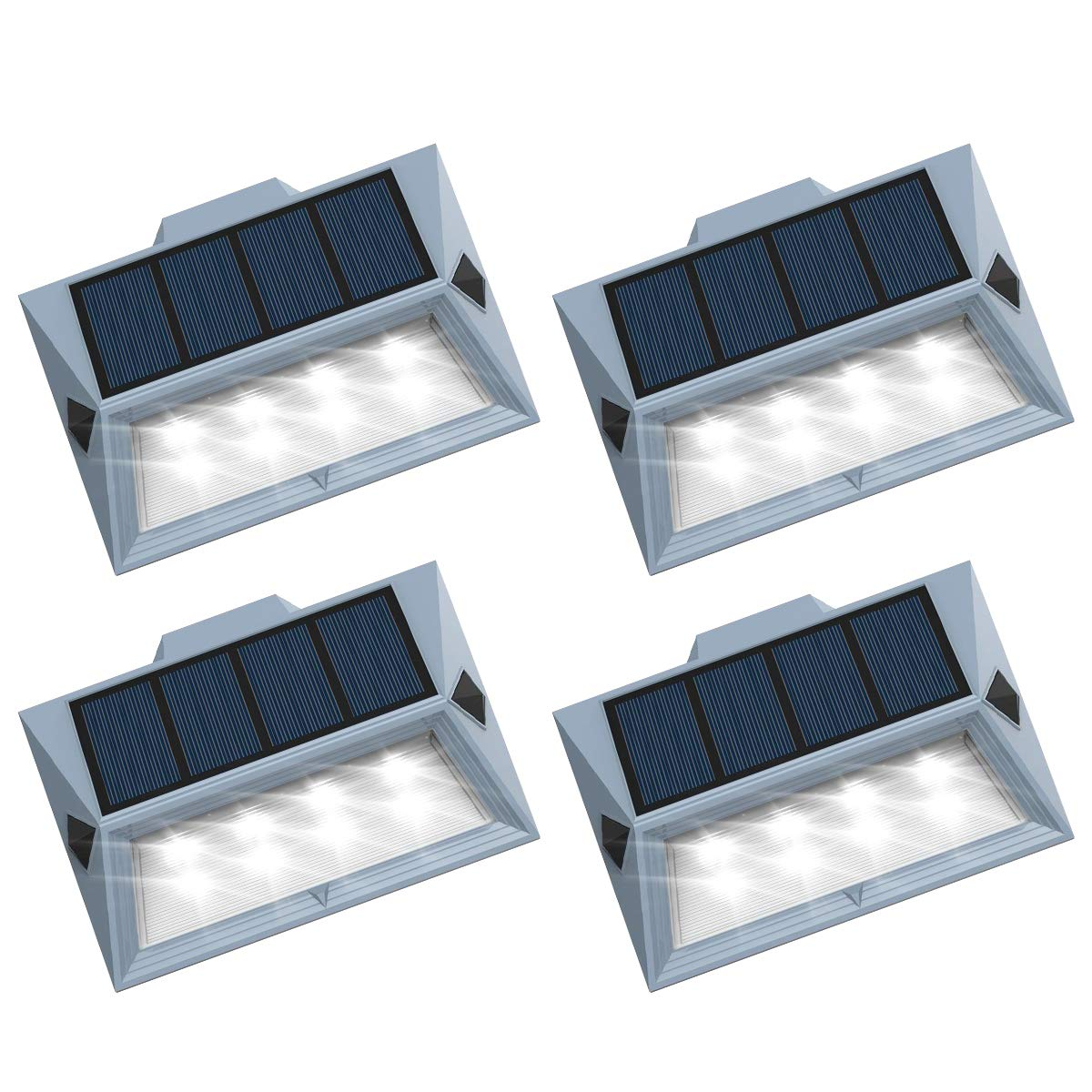 【Newest Version 8 LED】Solar Stair Step Lights Outdoor Decorative Solar Deck Lights Wireless Waterproof Lighting for Garden Wall Paths Patio Decks Auto On/Off 4 Pack by Roopure