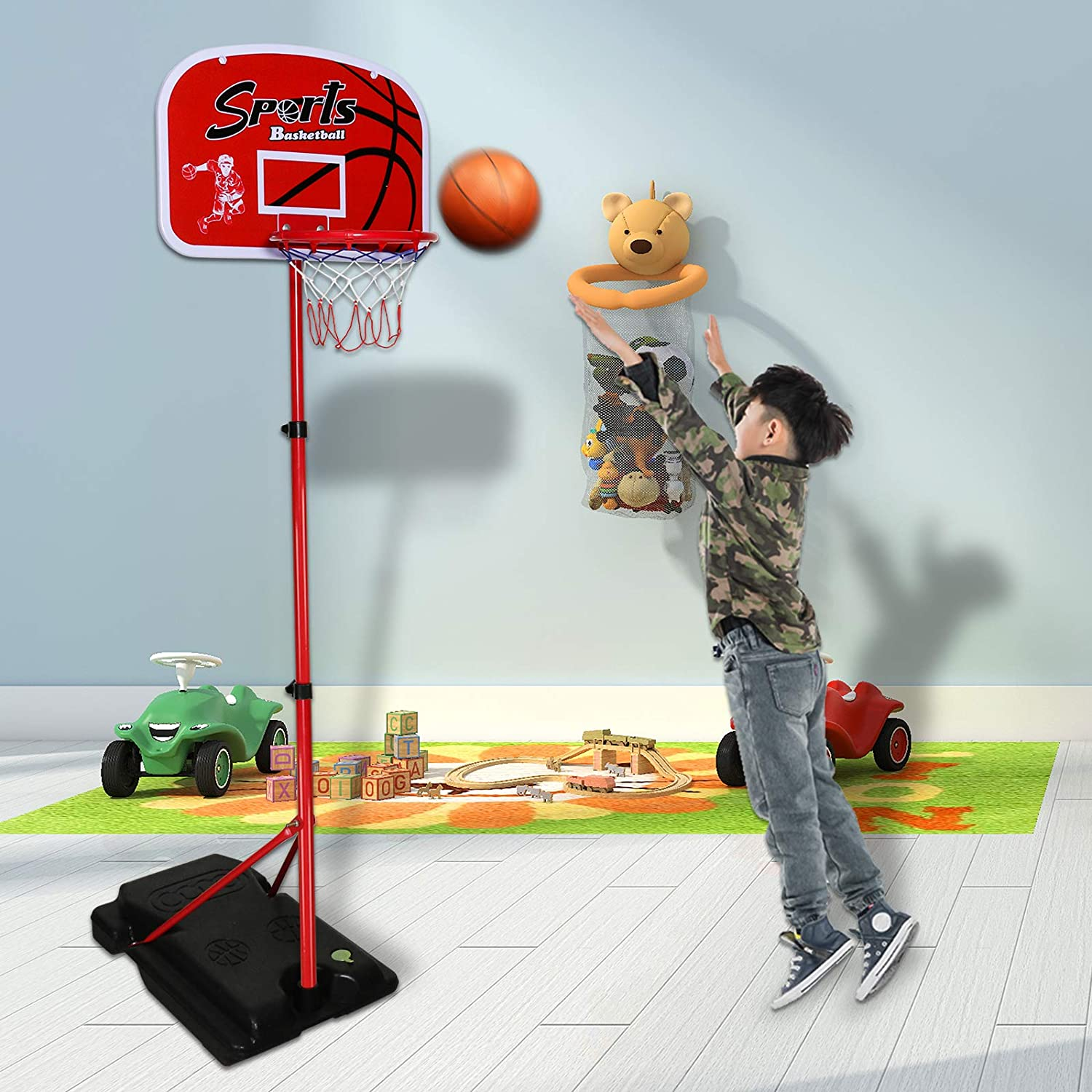 Adjustable Height 3.5 ft Kids Basketball Hoop Stand Mini Hoop Basketball Goal Gifts for Boys Girls Toddlers Age 3 4 5 6 7 8 9 10 6.5 ft Outdoor Toys Outside Backyard Games Indoor Basketball Hoop