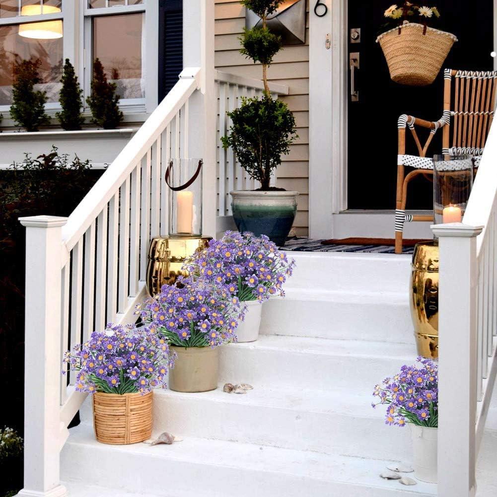 Margaritas artificiales para exteriores resistente a los rayos UV maceta decoraci/ón de interior y exterior Msrlassn plantas de imitaci/ón y arbustos de pl/ástico para colgar en la ventana