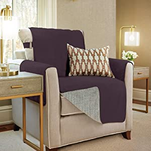 GORILLA GRIP Original Slip Resistant Chair Protector for Seat Width up to 23 Inch, Patent Pending Suede-Like Furniture Slipcover, 2 Inch Straps, Chairs Slip Cover Throw for Dogs, Armchair, Dark Purple