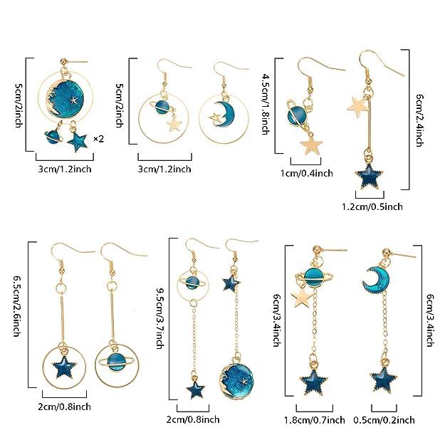 Amazon.com: 12 pares de pendientes con forma de estrella de ...