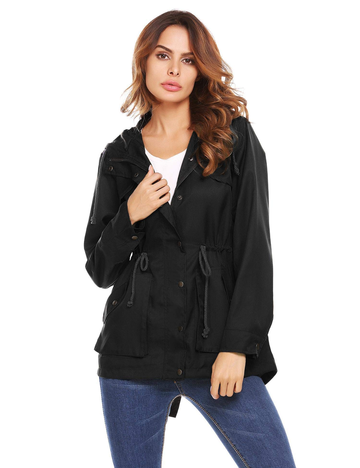 UNibelle Fall Anorak Street Fashion Hoodies Active Lightweight Zip Up Women Safari Jacket(Black,XXL)