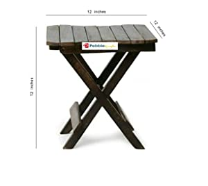 PEBBLE CRAFTS Wooden Folding Table for Living Room,12x12x12 Inch (Black) Coffee Table Tea Table