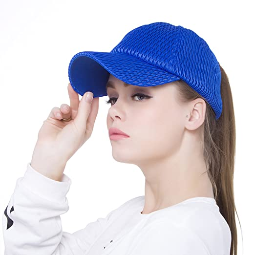 Lobeve Ponytail Baseball Cap Hat Mesh Overall Cooling Sun Hats Adjustable  Mesh Sports Caps-Blue c3f5025fcf4