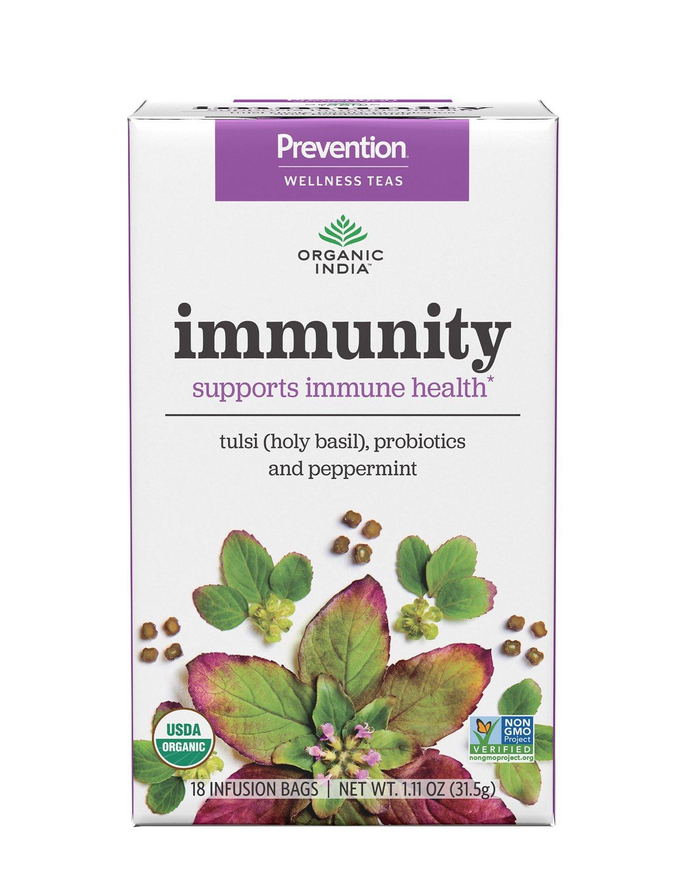 ORGANIC INDIA Prevention Wellness Teas - Immunity, 6 Pack Case