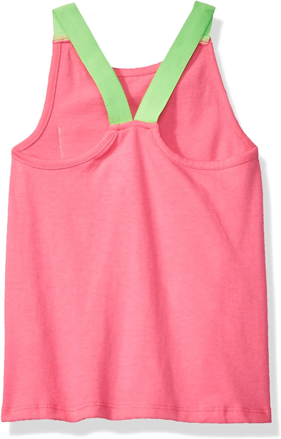 Dream Star Little Girls/' Tank with Contrast Racer Straps and Sequin Pocket Neon