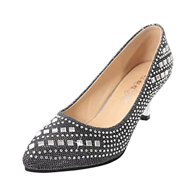 b4322e1207 Gaorui Women Glitter Crystal Shoes Pointed Toe Gorgeous Rhinestones Jeweled  Party Pump Black