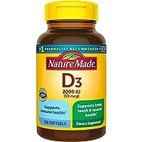Vitamin D3, 250 Softgels, Vitamin D 2000 IU (50 mcg) Helps Support Immune Health, Strong Bones and Teeth, & Muscle…