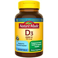 Nature Made Vitamin D3 2000 IU (50 mcg) Softgels, 250 Count Everyday Value Size...