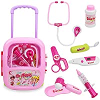 Wish key Doctor Play Set with Trolley Suitcase with Light and Sound Effects (Pink)