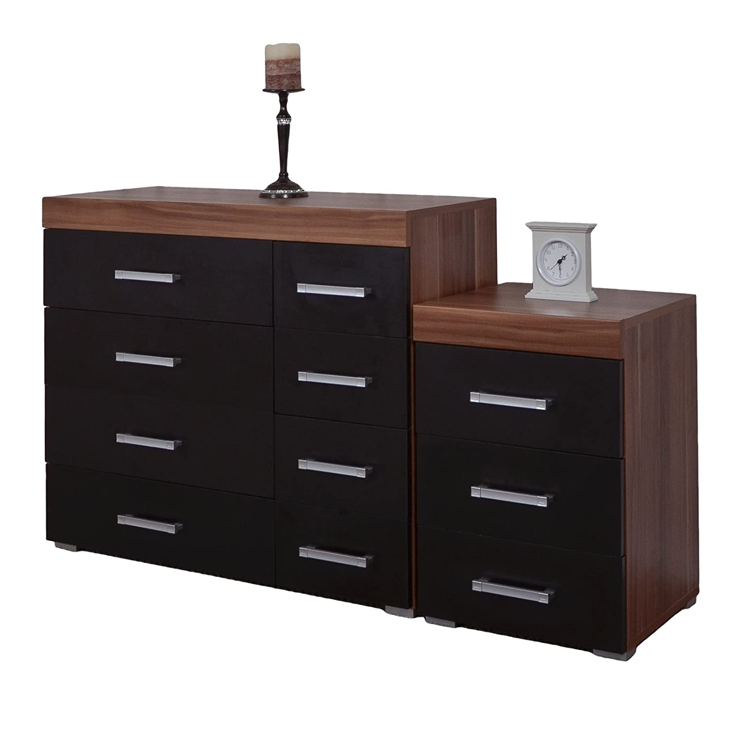 DP Black & Walnut 4+4 Drawer Chest & 3 Draw Bedside Cabinet Bedroom Furniture NEW
