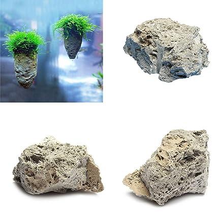 Hinmay Piedra pómez decorativa para acuario, diseño de roca y pómez natural, 3-
