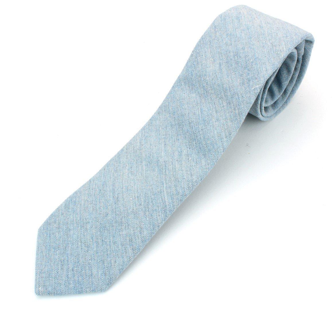 Men's Chambray Cotton Skinny Necktie Tie Textured Distressed Style - 07 - Light Blue #2