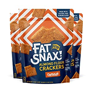 Fat Snax Almond Flour Crackers - Low-Carb and Gluten-Free Keto Crackers with 11g of Fats - 2-3 Net Carb* Keto Snacks - (Cheddar, 3-Pack)