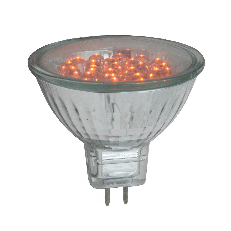 Pro-Lite 2w Orange MR16 LED cluster spot light bulb (coloured, 12v pins)
