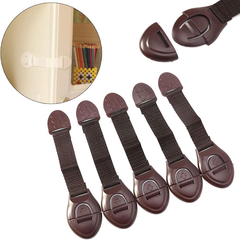 LANDUM 5 Piezas//Lote Armarios de la Puerta del gabinete Refrigerador Inodoro Cerraduras de Seguridad para ni/ños Beb/é Caf/é Longitud Total 7.32in 18.6cm