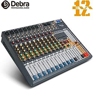 Debra Audio EVA series new update!!! 6/8/12 Channel Clean Sound Bluetooth Studio Mixer Audio - DJ Sound Controller Interface USB Drive PC Recording Input, XLR Mic Jack, 48V Power(12 Channel)