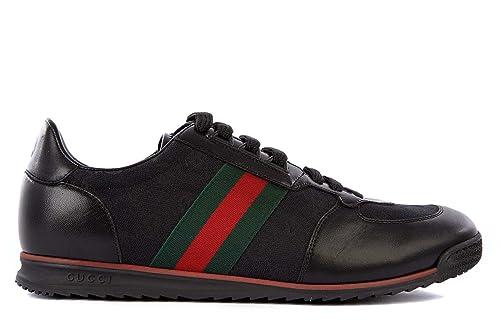 Gucci scarpe sneakers uomo in pelle nuove moorea nero  Amazon.it  Scarpe e  borse 5d194fc55865