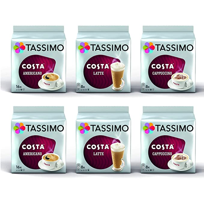 Tassimo Coffee Costa Bundle Costa Lattecappuccinoamericano Pods Pack Of 6 64 Servings