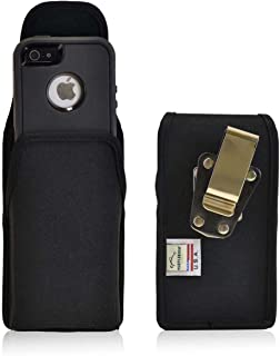 product image for Turtleback Belt Clip Case Compatible with Apple iPhone SE 5 5c 5s w/OB Defender case Black Vertical Holster Nylon Pouch with Heavy Duty Rotating Belt Clip Made in USA