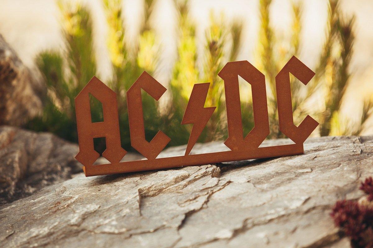 AC-DC Edelrost Schriftzug Hinstellen 11cm x 27cm Tiefe 5cm