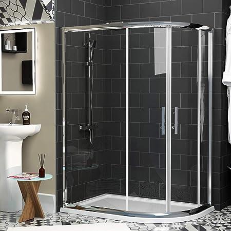 Caminar en offset cuadrante ducha almacenaje 6 mm cristal puerta ...
