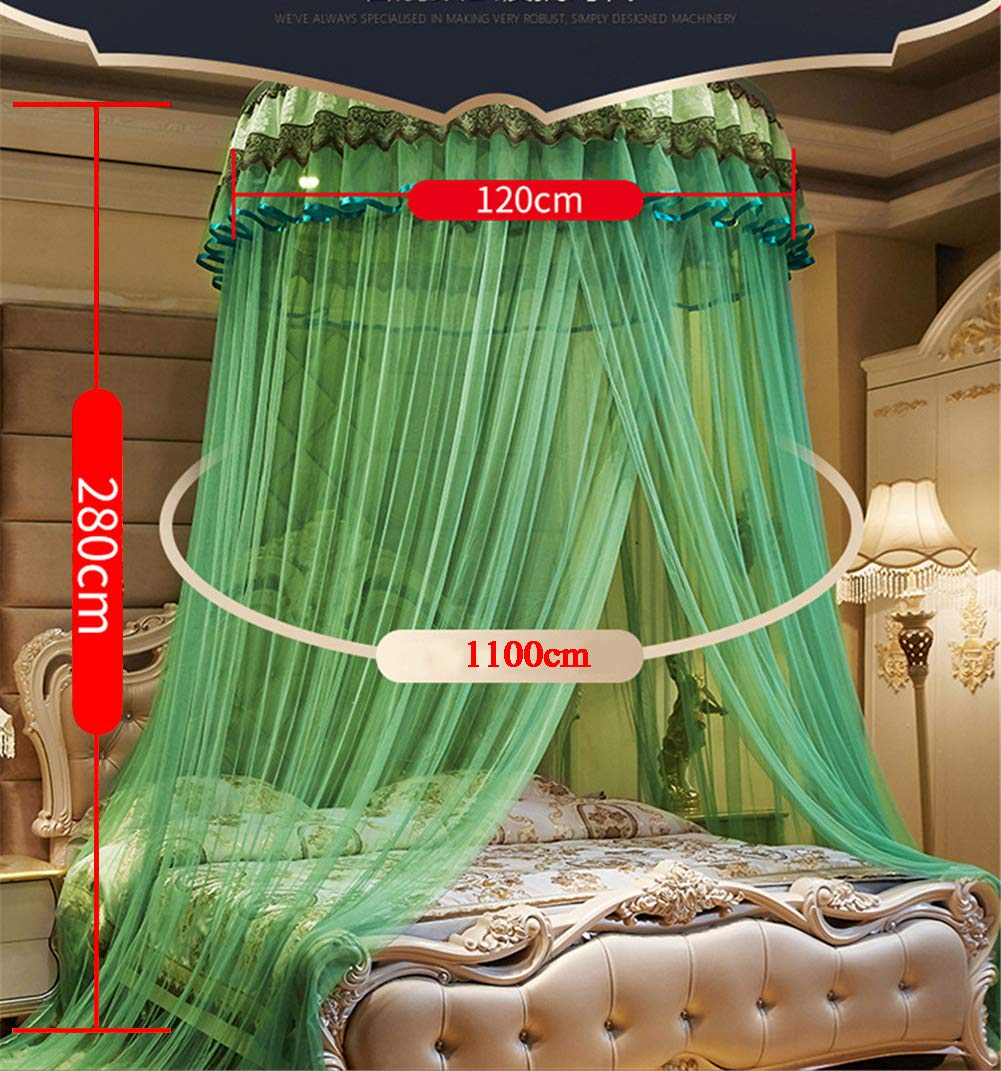 XDWN Mosquito Net Round Lace Dome Bed Canopy Netting Princess Fashion for King Queen Double Twin Size Bed,Brown by XDWN (Image #6)