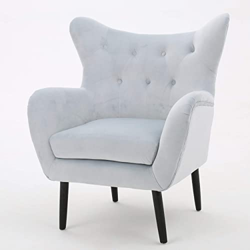 Christopher Knight Home Seigfried Velvet Arm Chair, Light Grey