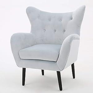 Christopher Knight Home 298853 Alyssa Arm Chair, Light Grey