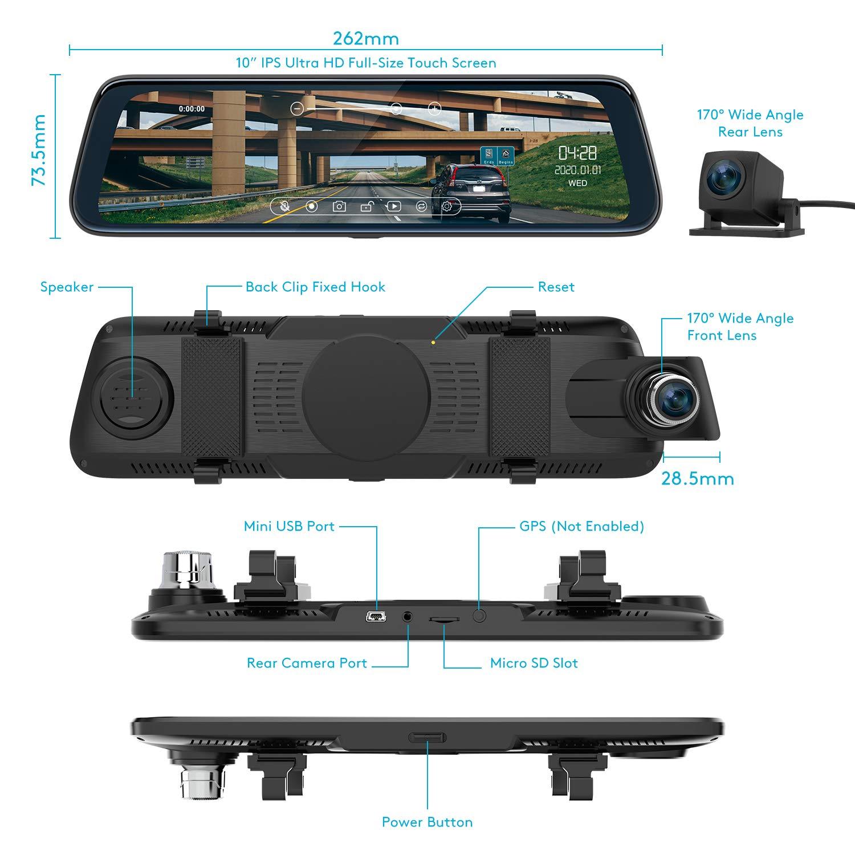 ThiEYE Dash Cam Doppia Telecamera per Auto Screen 10 pollici Full HD 1080P Telecamera per auto