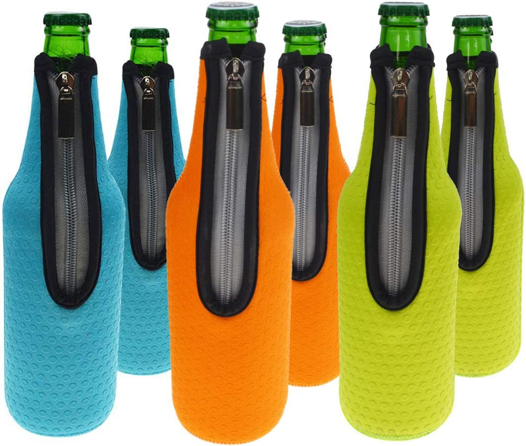 Orchidtent - Funda de neopreno con cremallera para cerveza, botella de cerveza,6 unidades con aislamiento para botellas de cerveza, funda de transporte para bare, 500 ml 6 Colors
