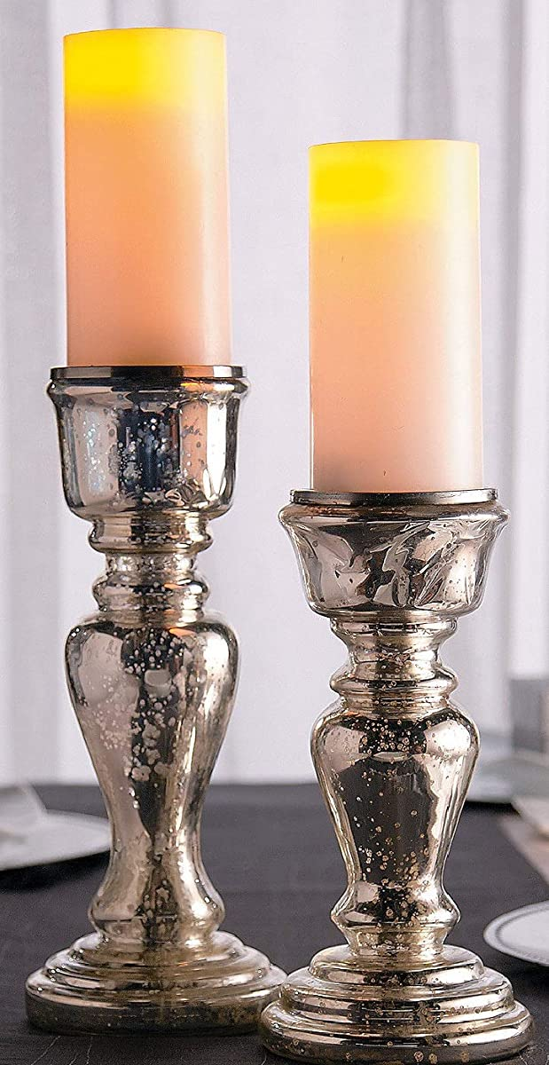 OTC Silver Mercury Glass Candle Holders Antique Elegance Valentine's Day Decorations