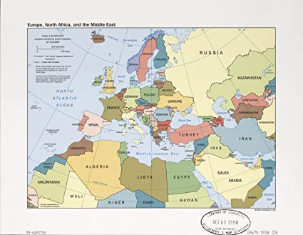 Amazon.com: Map Poster   Europe North Africa and the Middle East