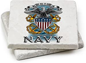 Natural Stone Coasters – United States Navy Gifts for Men or Women – US Navy Beverage & Beer Coasters – US Navy Full Print Eagle Gift Set (Set of 2)