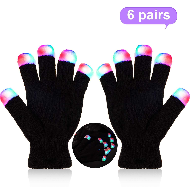6 Pairs Children Led Finger Gloves Light up Gloves Led Fingertip Gloves Glowing Finger Gloves Novelty Toys for Kids 6 Different Modes