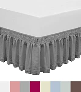 QSY Home Wrap Around Elastic Eyelet Bed Skirts Dust Ruffle Three Fabric Sides Easy On/Easy Off Adjustable Polyester Cotton 14 1/2 Inches Drop(Grey Queen/King)