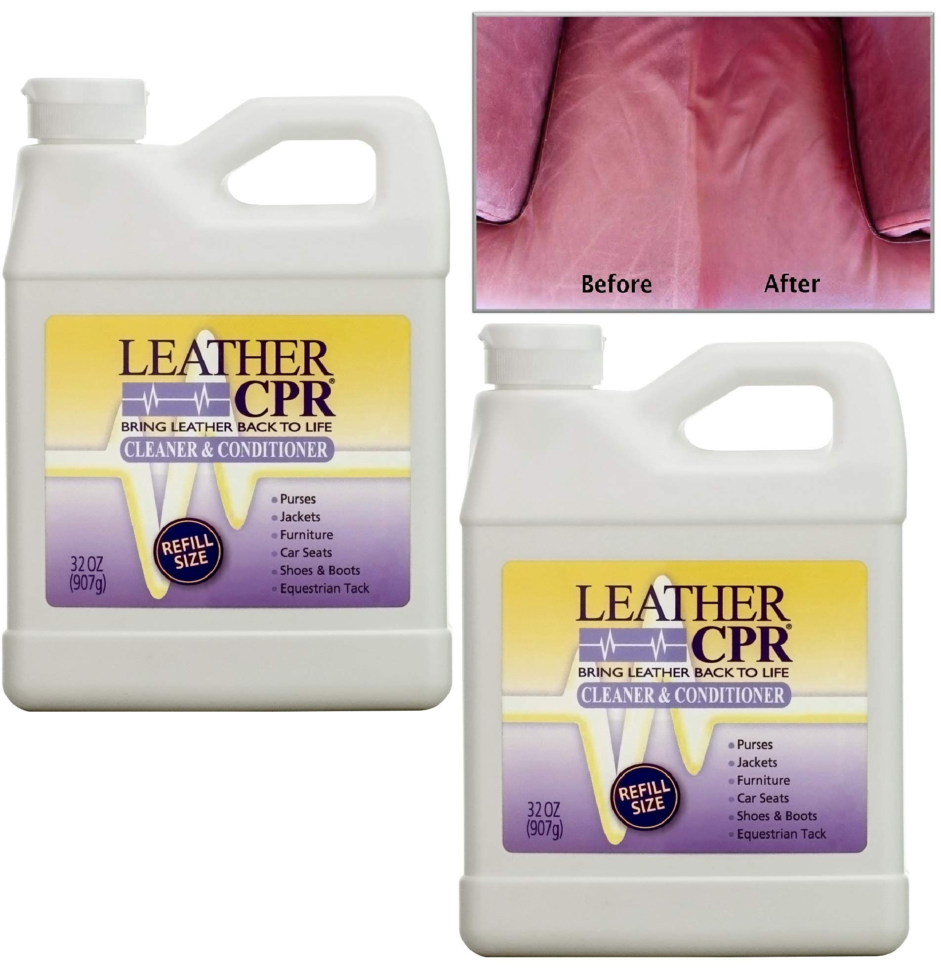 Leather CPR (2PK / 32oz Bottles) - Dermatologist Tested & 100% Irritant-Free Leather Cleaner & Conditioner for Your Home - Works Wonders on Furniture, Jackets, Shoes, Auto & More by CPR Cleaning Products