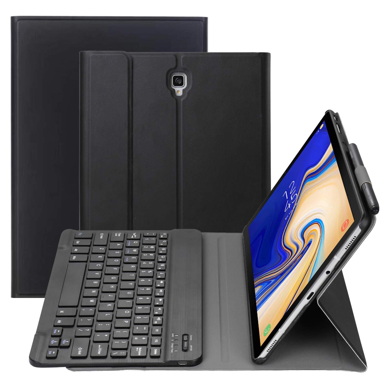 キーボードケース Samsung Galaxy Tab S4 10.5 2018モデルSM-T830/T835/T837用 Sペンホルダー付き スリムシェル 軽量スタンドカバー 取り外し可能なワイヤレスBluetoothキーボード付き ブラック T830-PUFTJP  ブラック B07LFFJ3TZ