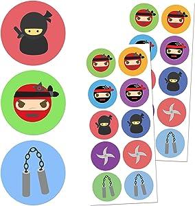 TownStix Ninja Sticker Set - 10 Designs, 20 Sheets, 200 Stickers