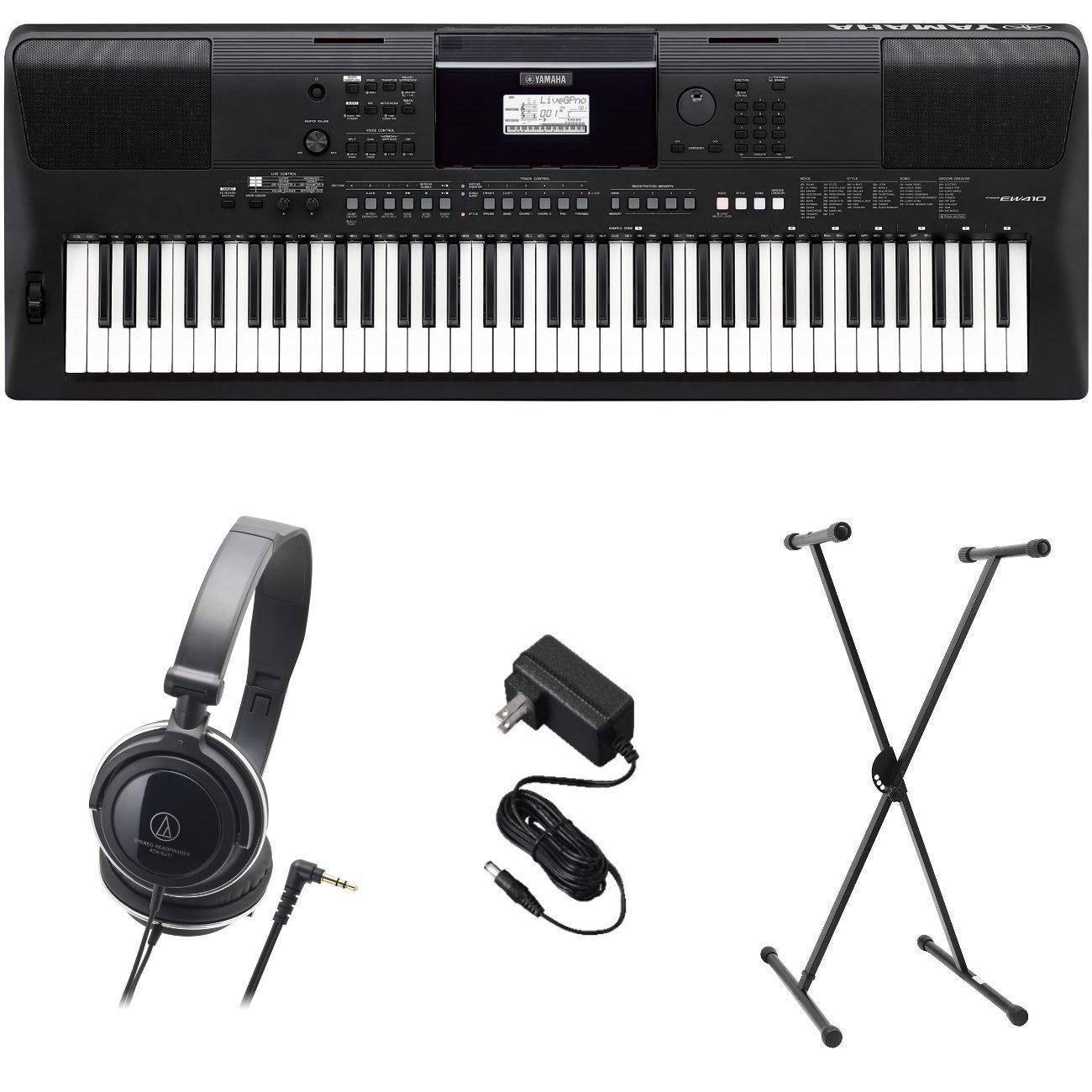Yamaha PSR-EW410 PKS Premium Keyboard Pack with Power Supply, Stand, and Headphones by YAMAHA