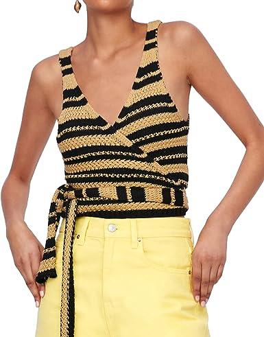 Zara 9659/001 - Camiseta de Punto a Rayas para Mujer Marrón ...