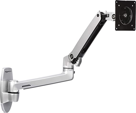 AmazonBasics Premium Wall Mount Computer Monitor and TV Stand - Lift Engine Arm Mount