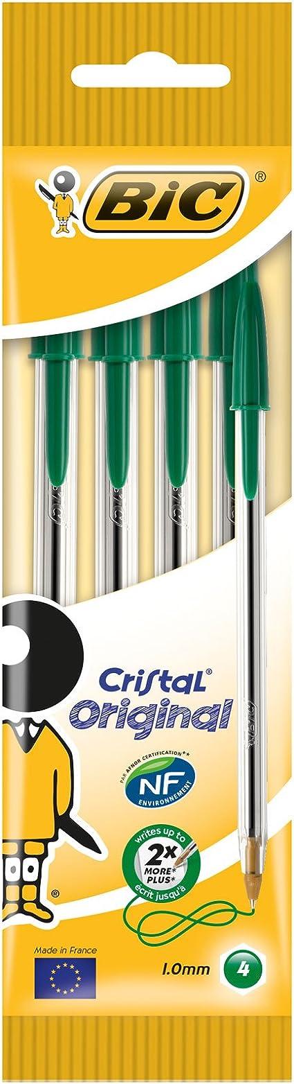 BIC Cristal - Pack de 4 bolígrafos mediano, color verde: Amazon.es ...