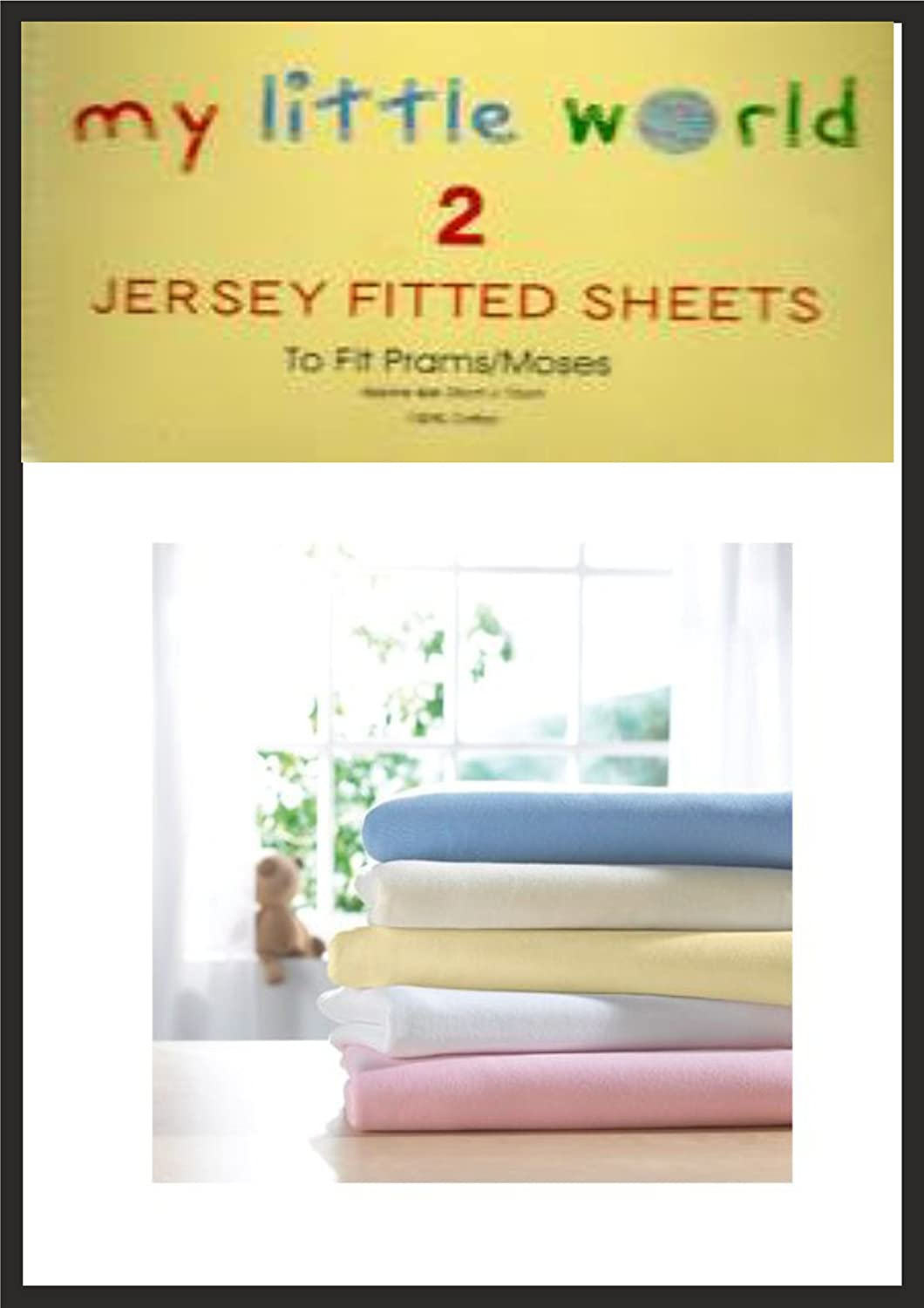Moses Blue Basket Jersey Fitted Sheets Baby Nursery Bedding Soft Touch Pack of 2 100/% Cotton Pram