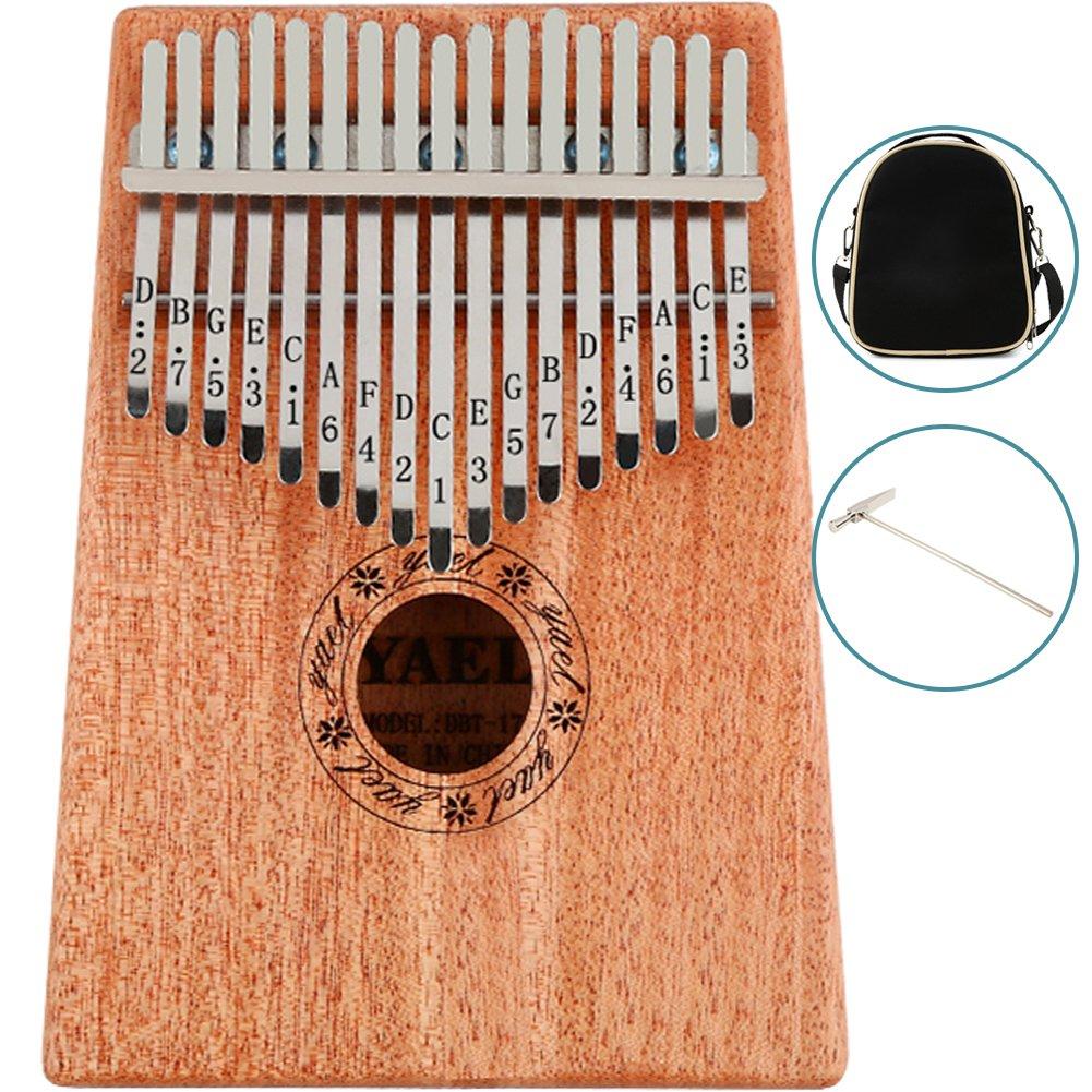 WINGOFFLY Professional Mahogany 17 Keys Kalimba with Tune Hammer and Bag Portable Thumb Piano African Mbira Sanza, Natural