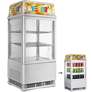 VBENLEM 58L Countertop Display Refrigerator 2cu. ft. Capacity Commercial Beverage Cooler Detachable Light Box with LED Lighting White Display Refrigerator for Supermaket Bar Office Use