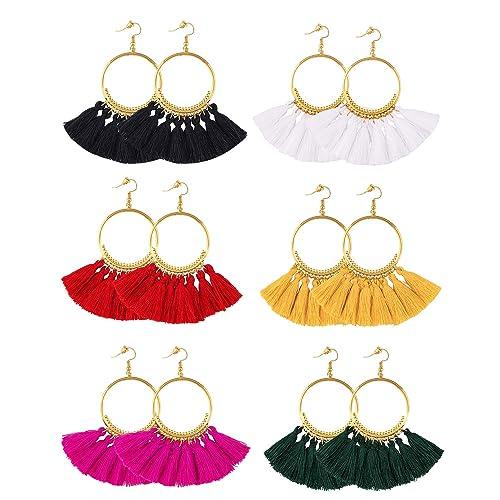 d2e1466f3 6 Pairs Tassel Hoop Earrings Bohemia Fan Shape Drop Earrings Fish Hook  Earrings Dangle Ear Drop for Women Girls Daily Wear,Party etc: Amazon.ca:  Jewelry